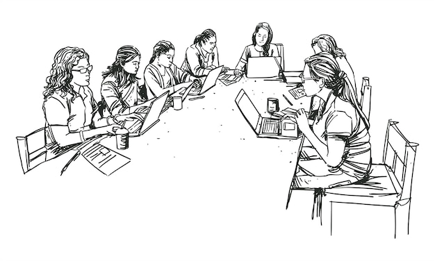 Office women in group meeting line artwork