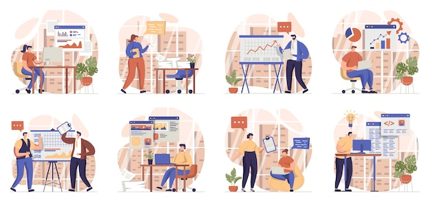 Office work collection of scenes isolated people make presentations brainstorming