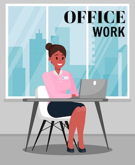 Office work color vector illustration with text