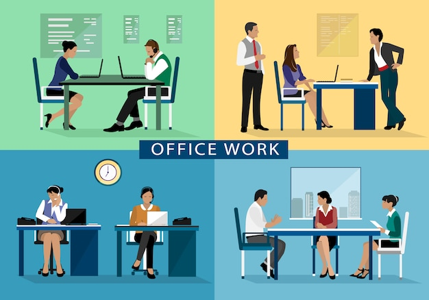 Office work design concept set with people working hard on their workplaces.