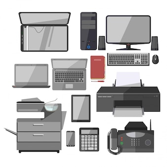 Office work equipment devices vector isolated icons set