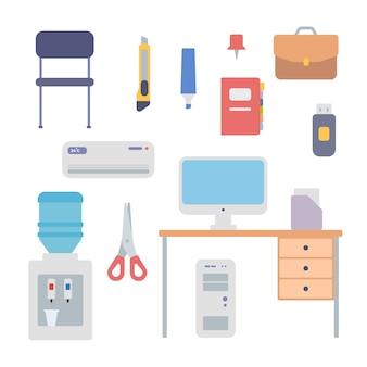 사무실 작업 장비 아이콘 세트입니다. 컴퓨터와 문서 폴더가 있는 책상
