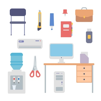 Office work equipment icon set. desk with computer and folder of documents