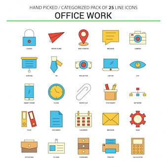 Office work Flat Line Icon Set