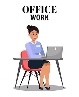 Office work flat vector illustration with text