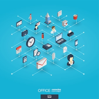Office work integrated 3d web icons. digital network isometric interact concept.