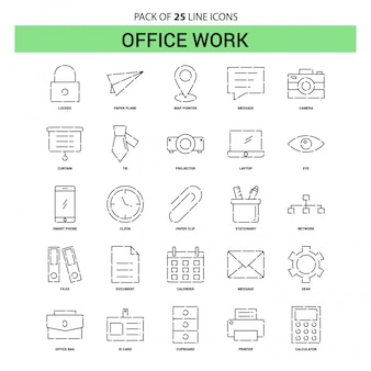 Office work line icon set - 25 dashed outline style