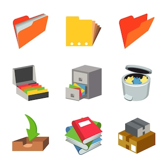 Office work paper equipment object set vector
