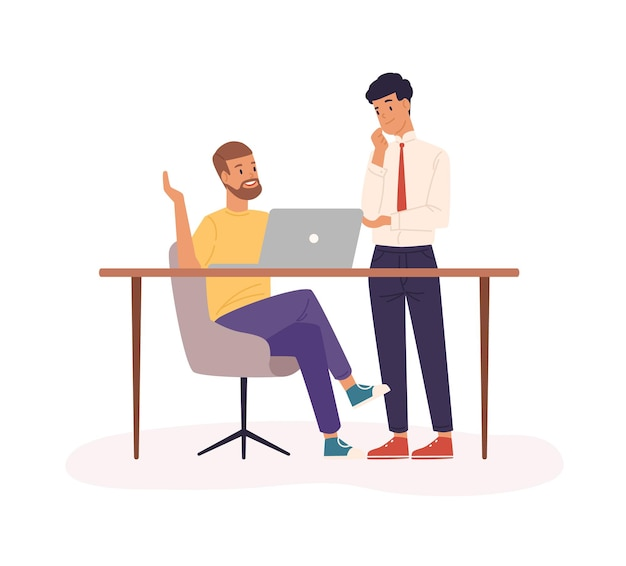 Office work, partnership flat vector illustration. company staff cooperation, business project planning. co-workers cartoon characters. employees in workstation isolated on white background.