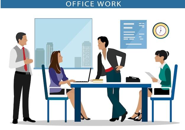 사무. 사무실에있는 컴퓨터에서 일하는 사람들.
