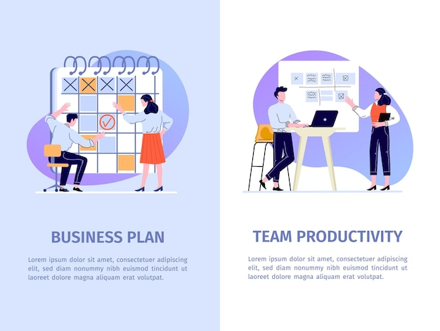 Office work productivity vector banner. team and task management with employees. cooperation and presentation