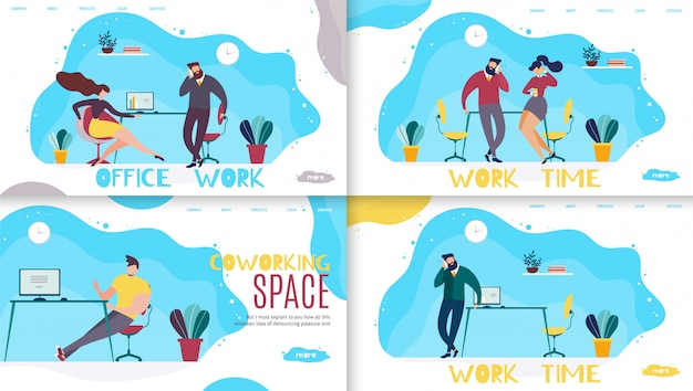 Office work time and coworking space lettering landing page set