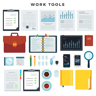 Office work tools. paperwork and business work elements, set. mobile devices and documents. vector illustration.