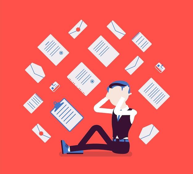 サラリーマンと事務処理の過負荷。若い店員は、日常業務で書かれた文書、レポート、一連のビジネスレターが頭に落ちて疲れ果てていました。ベクトルイラスト、顔のない文字
