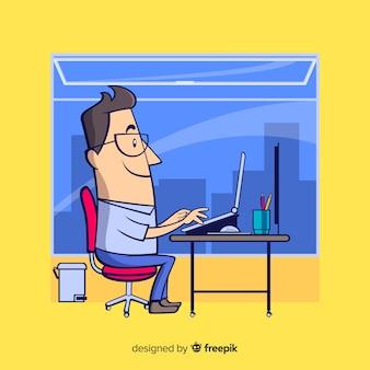Офисный работник в офисе