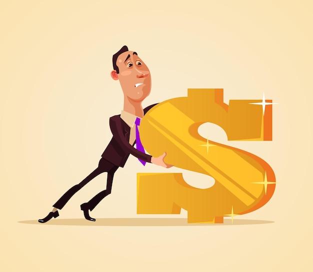 Офисный работник бизнесмен характер тянуть знак доллара