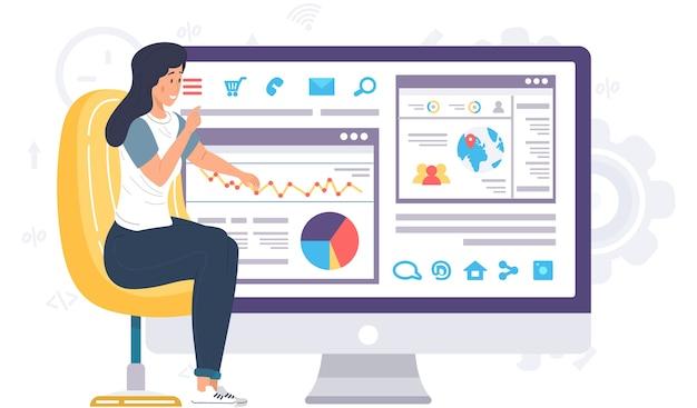 Офисный работник, предприниматель возле информационного плаката с цифровыми индикаторами и диаграммами. статистический анализ презентации отчета, бизнес-лекция, образовательная видеоконференция, онлайн-обучение