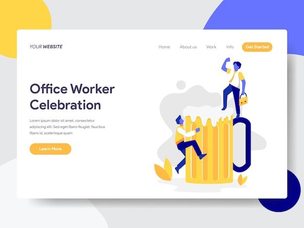 Office worker celebration with beer illustration