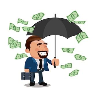 Офисный работник персонаж держит зонтик и стоит под денежным дождем
