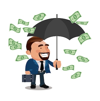 Office worker character hold umbrella and standing under money rain