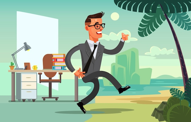 Office worker character run to vacation flat cartoon illustration
