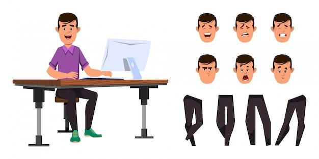 オフィスワーカーの文字セット。カジュアルな労働者少年キャラクターアニメーションまたはさまざまな顔の感情と手と運動の設定