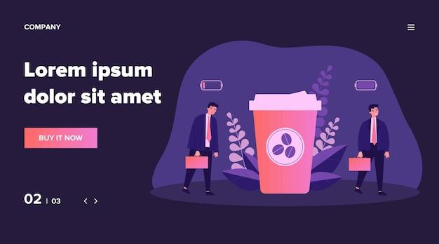サラリーマンが彼のバッテリーをコーヒーのエネルギーで充電します。テイクアウトのコーヒーカップの近くを歩くビジネスマン。カフェイン中毒、ストレス、コーヒーショップのコンセプトのイラスト