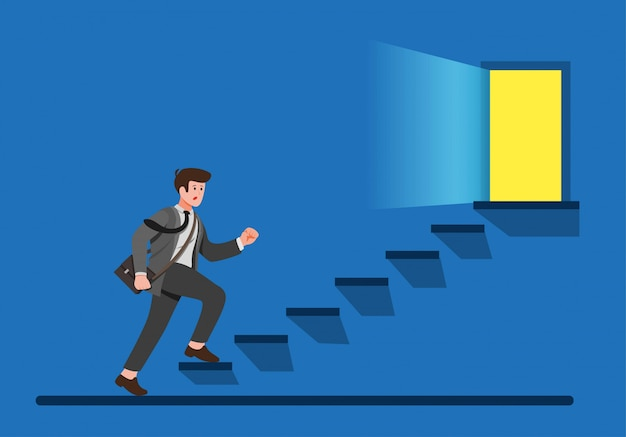 Office worker climbing up stairs to exit door, business man finding way to escape cartoon flat illustration