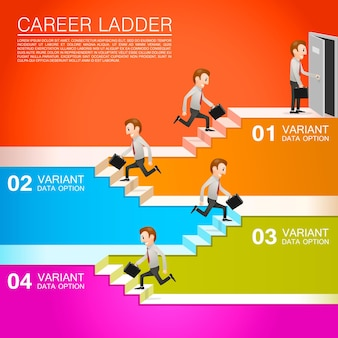 Office worker climbs the career. vector illustration