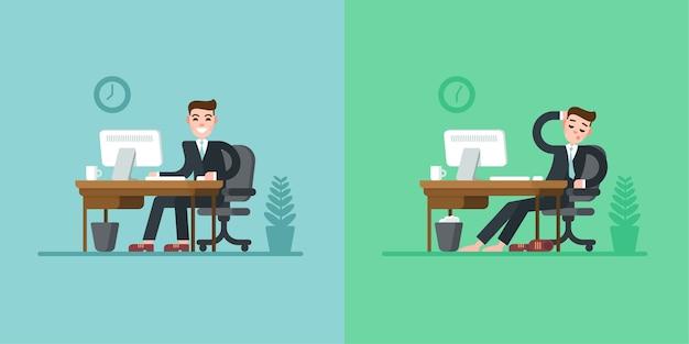 Распорядок дня офисного работника. деловой человек в костюме сидит за столом и работает на компьютере