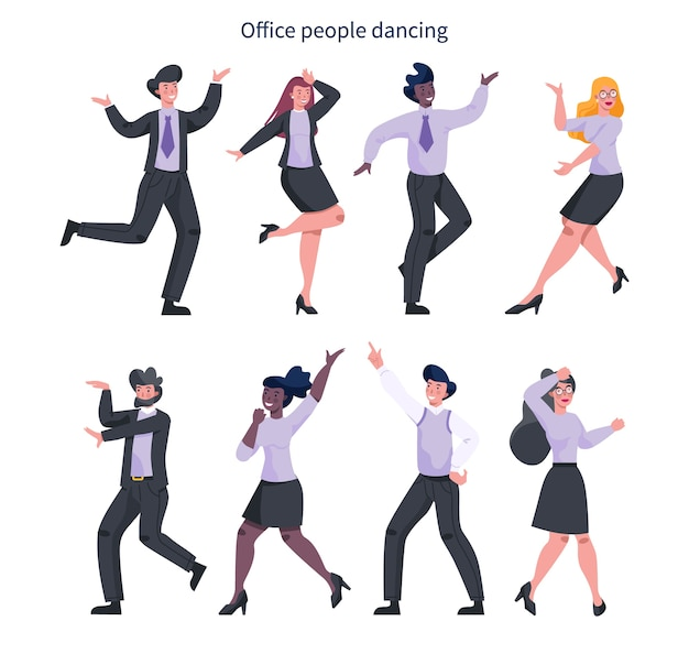 Офисный работник танцы набор. коллекция деловых людей в костюмах, танцующих вместе. сотрудник с удовольствием на рабочем месте. мультфильм