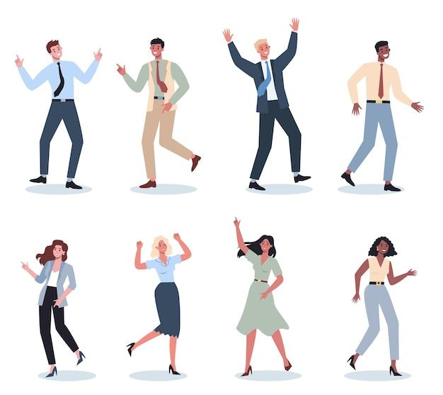 サラリーマンダンスセット。一緒に踊るスーツを着たビジネスマンのコレクション。職場で楽しんでいる従業員。孤立した漫画イラスト