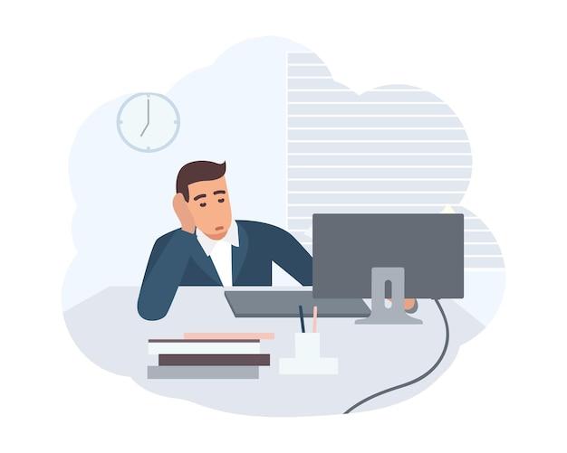 Офисный работник, одетый в умный костюм, сидит за столом и работает на компьютере. клерк на своем рабочем месте. сцена из повседневной жизни обычного человека. красочные векторные иллюстрации в плоском мультяшном стиле.