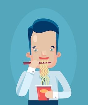 休憩時間の概念フラットイラストを食べるサラリーマン