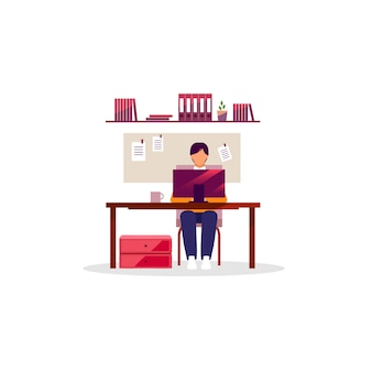 Office worker, employee with laptop flat vector illustration. man working at desk. manager, designer, programmer using pc. workplace, workspace interior