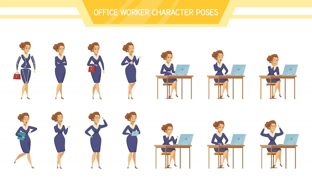 Office worker female poses set