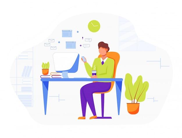 Офисный работник плоский векторные иллюстрации. бизнесмен, босс, пить кофе. удобное рабочее место с компьютером. секретарь, личный помощник, проверка почты. сотрудник, офис-менеджер мультипликационный персонаж