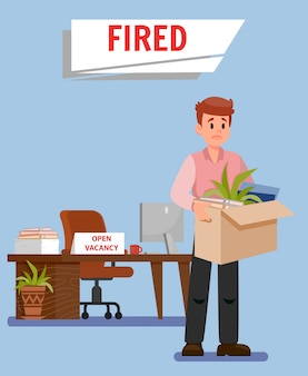 Office worker got fired flat vector illustration