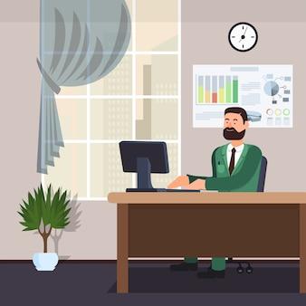 Office worker in green jacket in office interior.