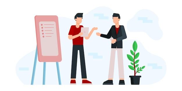 Офисный работник иллюстрации. коворкинг с творческими людьми обсуждают. бизнес-команда работает