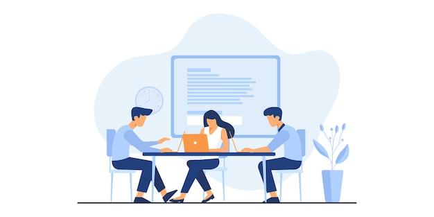 Иллюстрация офисного работника. коворкинг с творческими людьми, сидящими за столом. бизнес-группа, работающая вместе за большим столом с помощью ноутбуков. плоский рисунок.