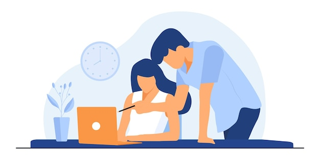 Office worker illustration. co-working space with creative people sitting at the table. business team working together at the big desk using laptops. flat     illustration.