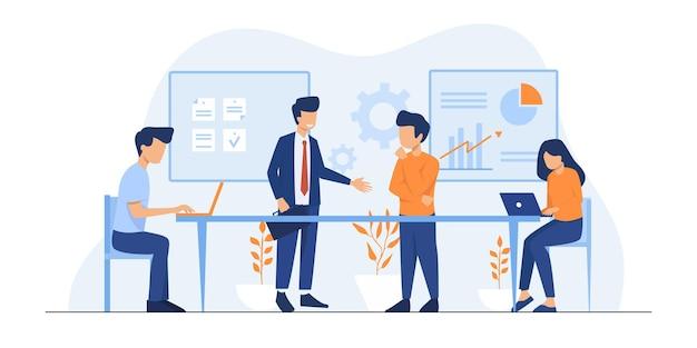 회사원 그림입니다. 창의적인 사람들 프레젠테이션 설정, 시작 토론. 노트북을 사용하는 큰 책상에서 함께 일하는 비즈니스 팀. 평면 그림.