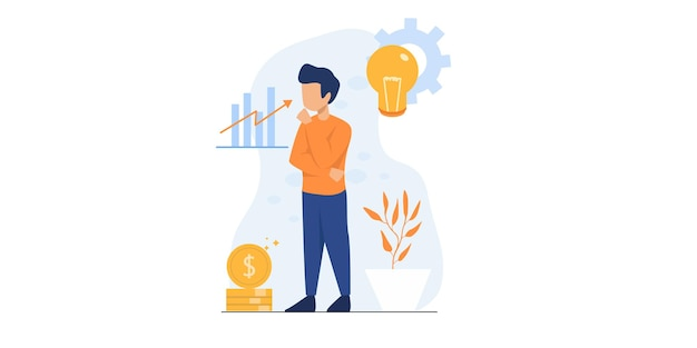 Office worker illustration. man standing with creative thinking of financial illustration