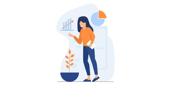 Office worker illustration. women at work with creative presentation setting. business team working