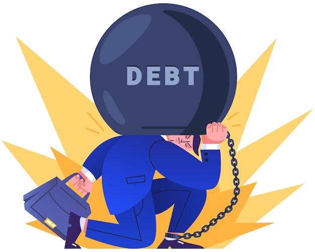 큰 부담에 사슬로 묶인 양복을 입은 회사원. 기업가는 막대한 부채, 세금 또는 수수료를 등에 업고 있습니다. 금융 위기, 파산 또는 돈 손실 문제 개념 평면 그림.