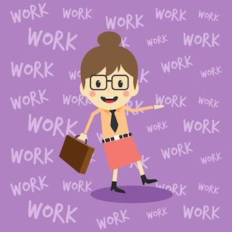 Office worker on the job full task employee cartoon