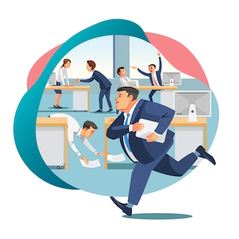 Office worker late on work flat vector concept