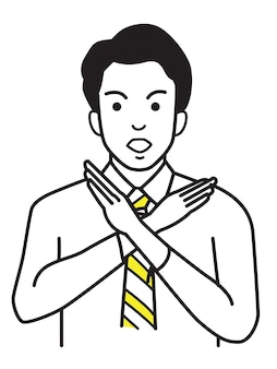 Office worker making no hand sign or x symbol