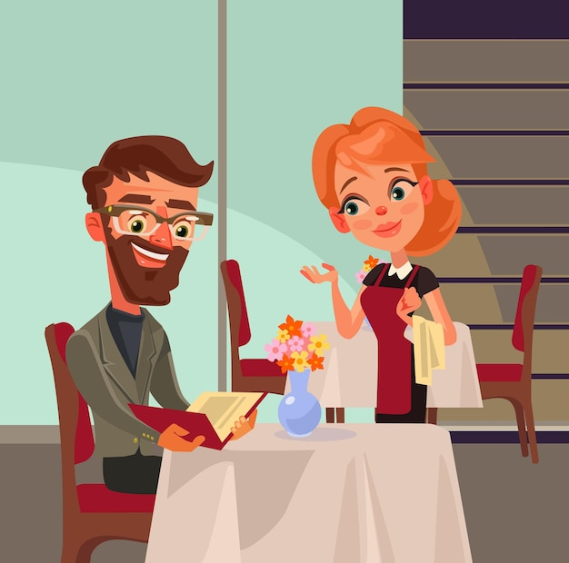 Office worker man character doing order and talks to woman waiter